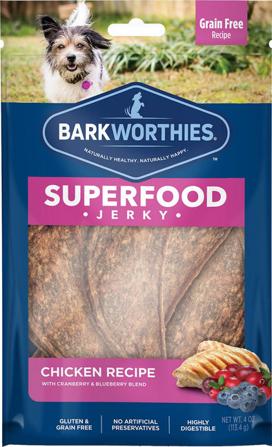 Barkworthies Chicken with Cranberry & Blueberry Superfood Jerky Dog Treats