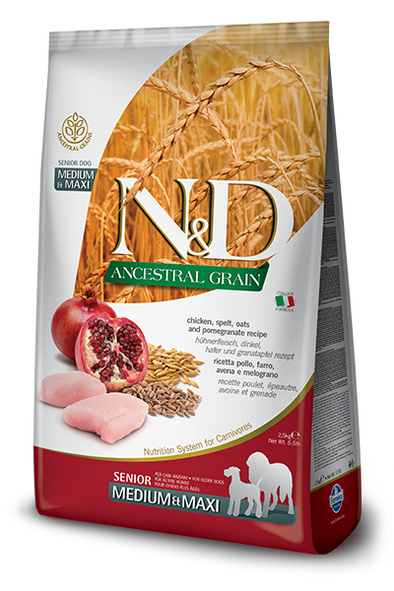 Farmina N&D Natural & Delicious Ancestral Grain Chicken & Pomegranate Medium & Maxi Senior Dry Dog Food