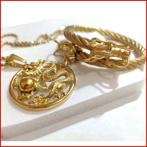 🐉DRAGON NECKLACE & DRAGON BANGLE SET🐉