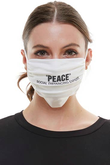 "Mask social distancing ""PEACE."" reusable cloth face mask"