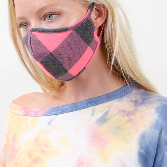 FACE MASK CHECK PRINT CORAL PLAID