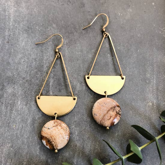Glade Earrings - Picture Jasper & Half Moon Brass
