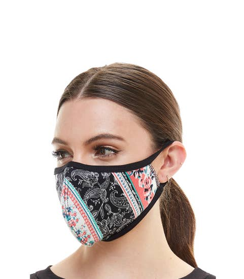 Black flower fashion mask cloth reusable fabric face mask