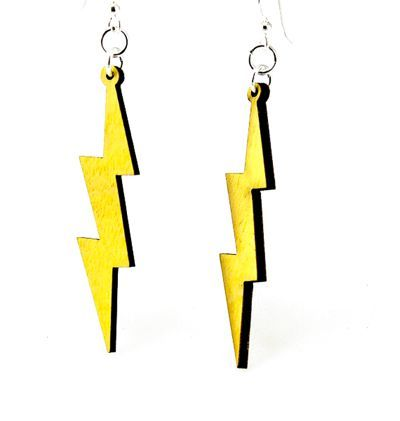 Slender Lighting Bolt Wood Earrings
