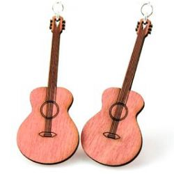 Classic Guitar Wood Earrings - Natural Wood