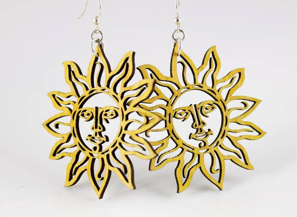 Sun Wooden Earrings