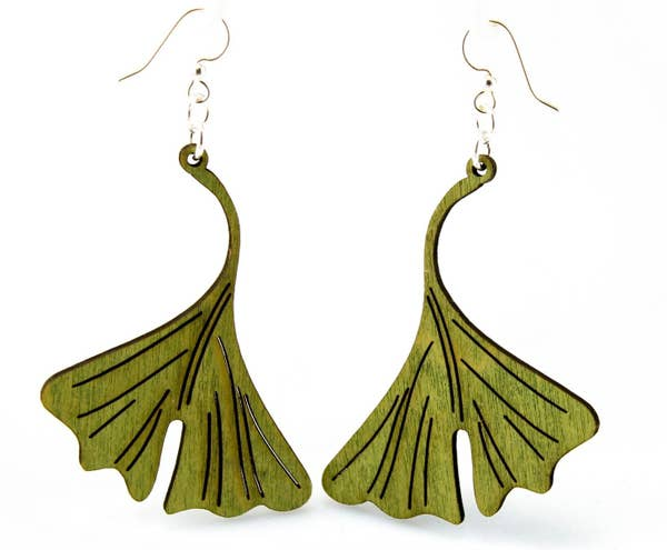 Ginkgo Leaf Wooden Earrings