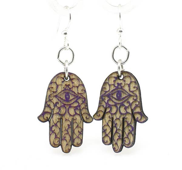 Hamsa Hand Wooden Earrings