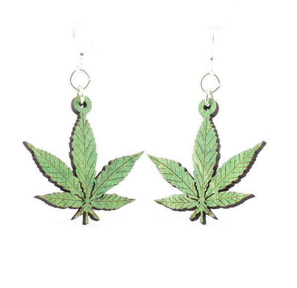 Hemp Leaves Wooden Earrings