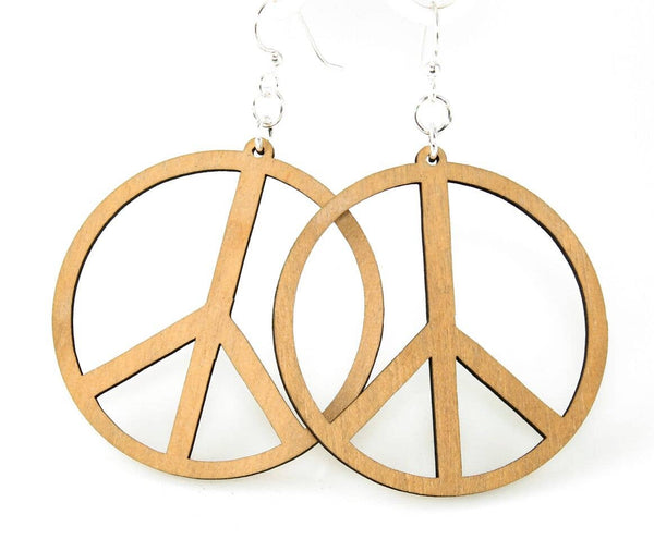 Large Peace Sign Wooden Earrings