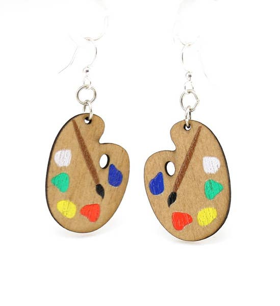 Painter Palette Wooden Earrings