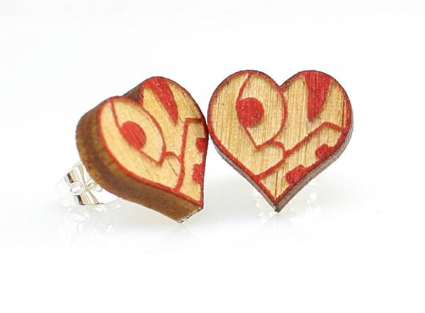 LOVE Heart Stud Wooden Earrings