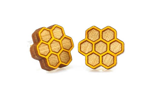 Honeycomb Stud Wooden Earrings