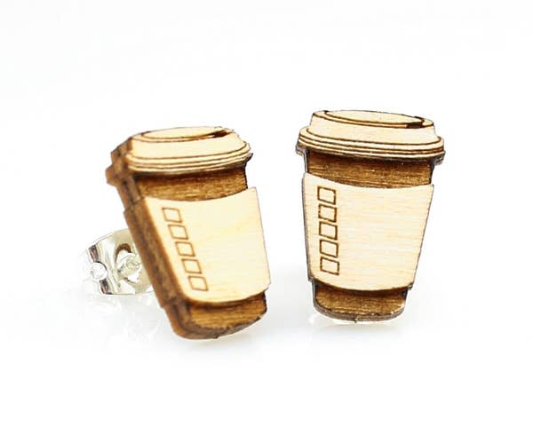 Coffee Wooden Stud Earrings