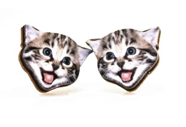 Playful Kitten Stud Wooden Earrings