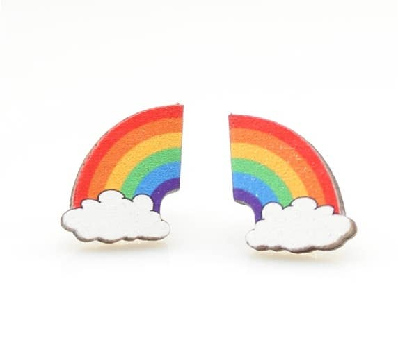 Rainbow Stud Wooden Earrings