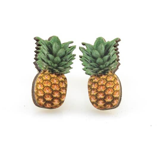 Pineapple Stud Wooden Earrings