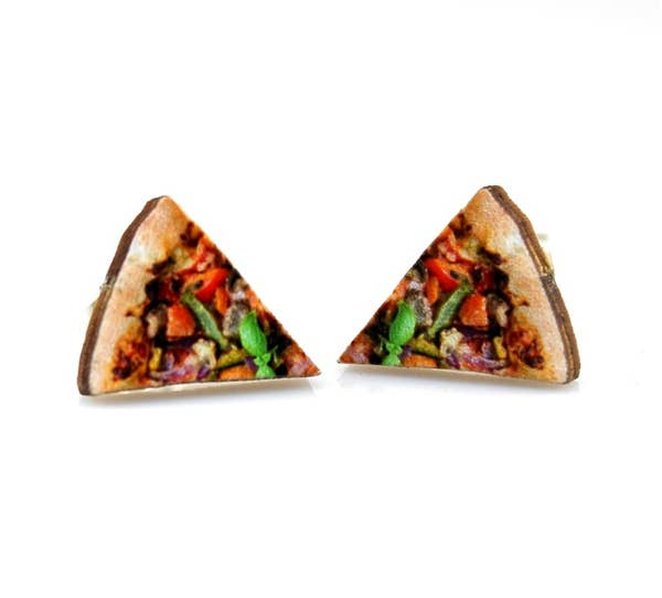 Pizza Stud Wooden Earrings
