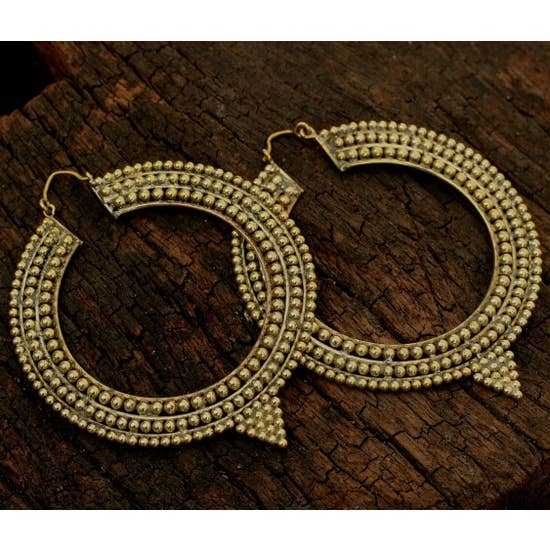 Large Brass Pointed Hoops