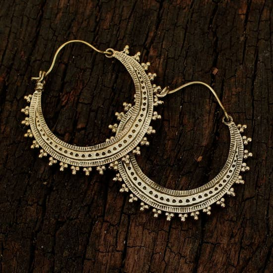 Small Brass Tribal Hoop Earrings