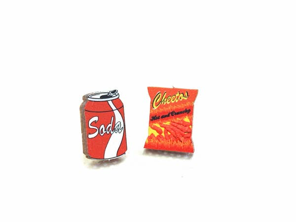 Cheetos & Soda Stud Wooden Earrings