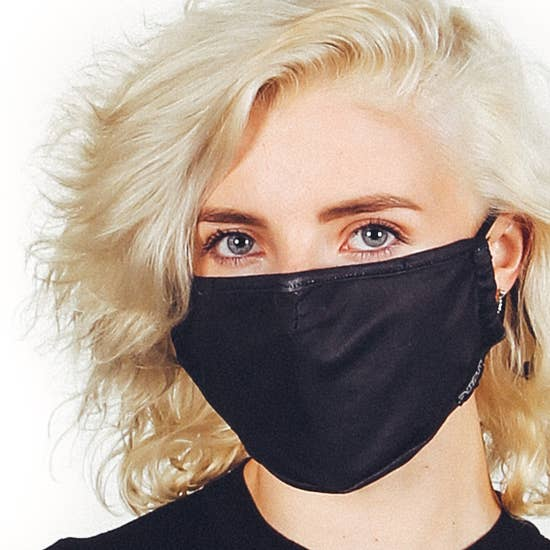Fabric Face Covering Mask- Black Denim