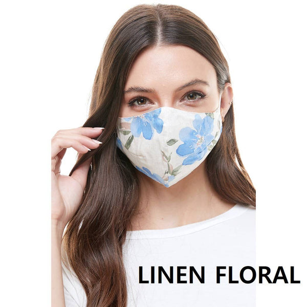Fashion Reversible Reusable Mask Linen Floral