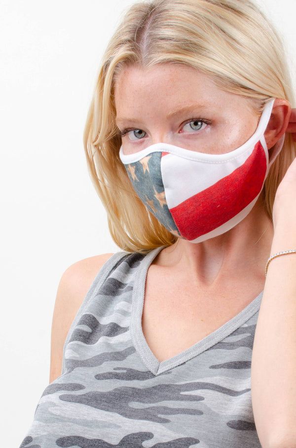 Double Layered Cotton: American Flag Mask