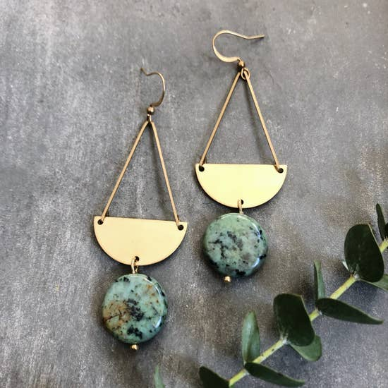 Glade Earrings - African Turquoise & Half Moon Brass