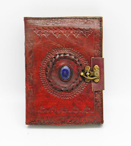 Lapis Lazuli Stone Eye Leather Journal