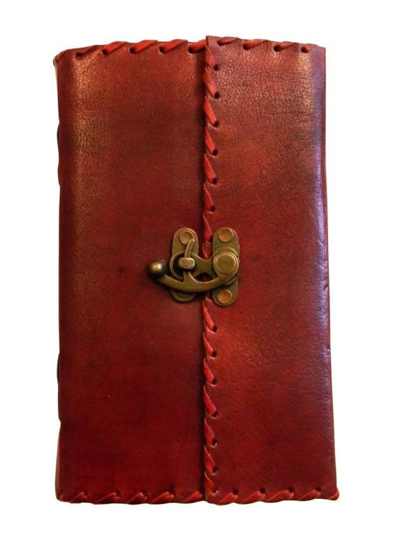 Leather Journal With Metal Lock & Stitch