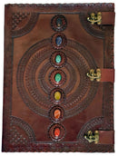 Huge Embossed Leather Journal with 7 Chakra Stones and 3 Metal Locks