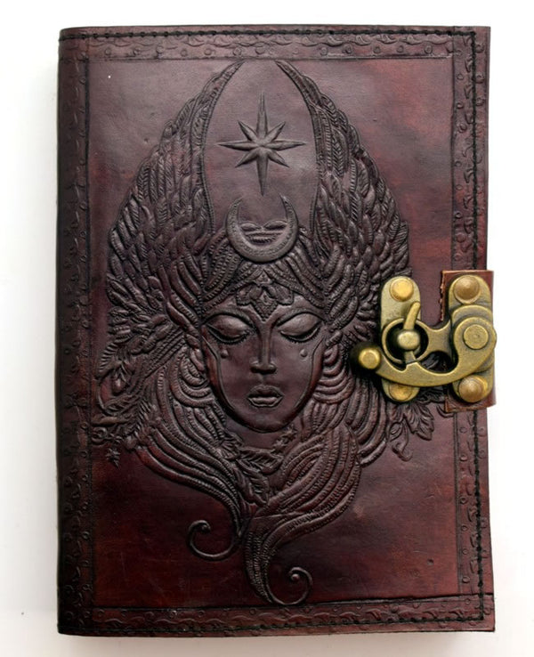 Star and Moon Goddess Leather Journal
