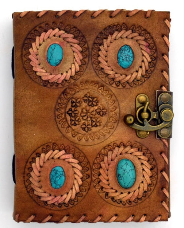 4 Turquoise Stone Leather Journal