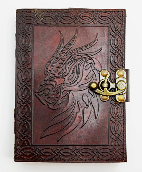 Celtic Dragon Leather Journal Metal Lock