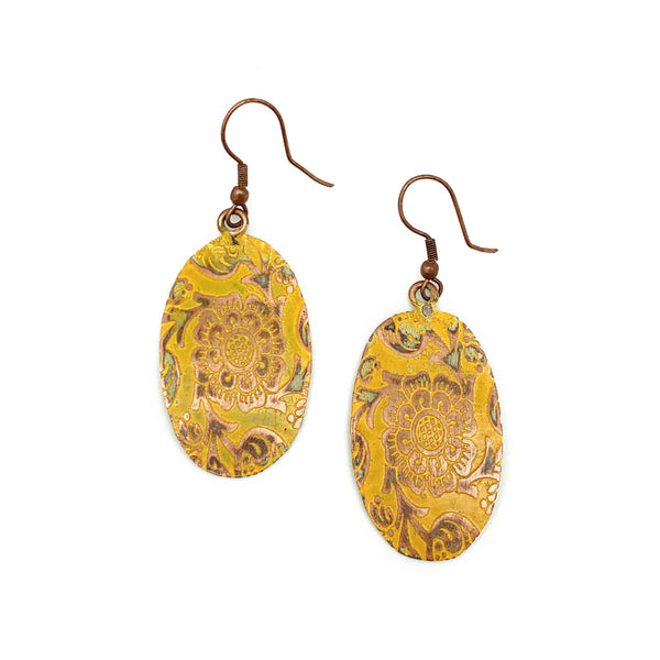 Copper Patina Earrings - Yellow Decorative Flower