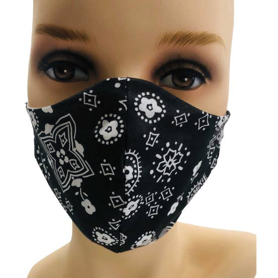 Black Bandana Face Mask With Fliters