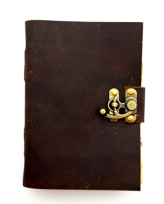 Leather Journal with Aged Looking Handmade Parchment Paper