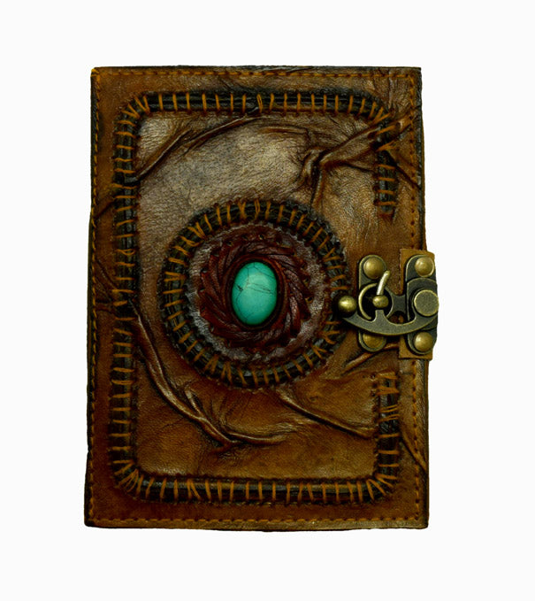 Leather Embossed Journal with Scar Stitching and Turquoise Stone
