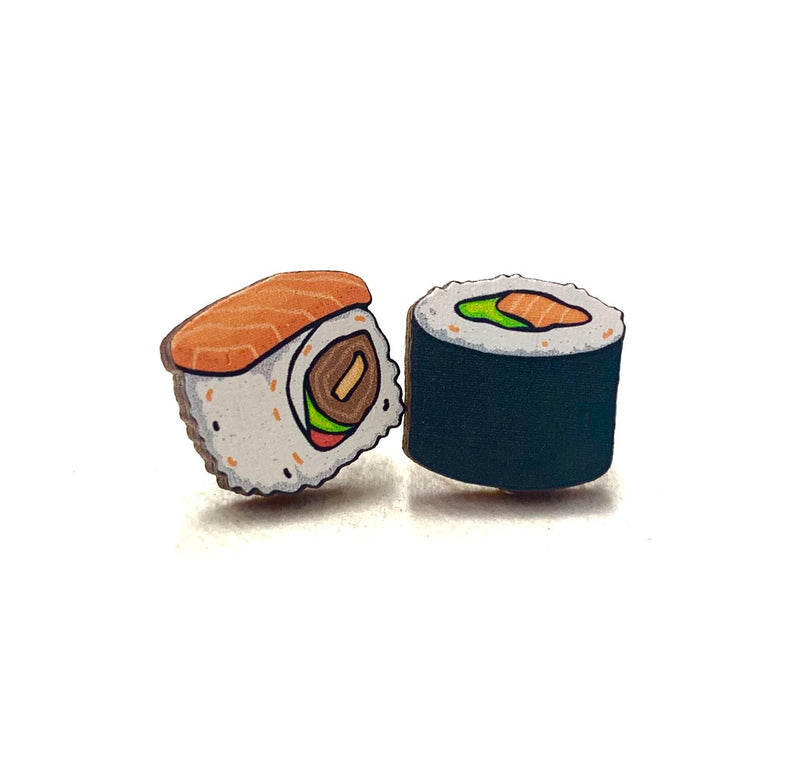 Sushi Wood Stud Earrings