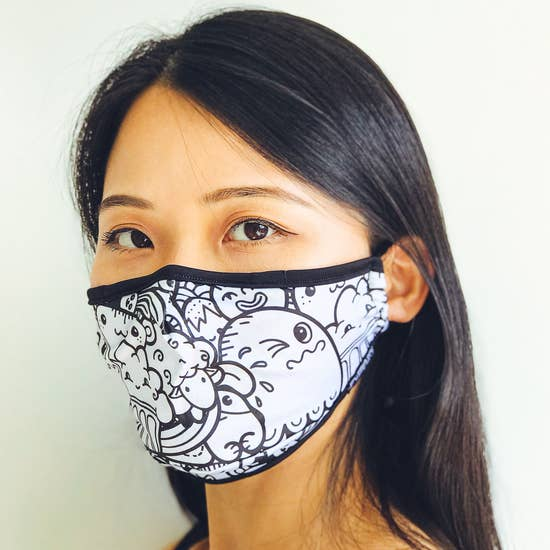 Fabric Face Covering Mask- Toon Town White