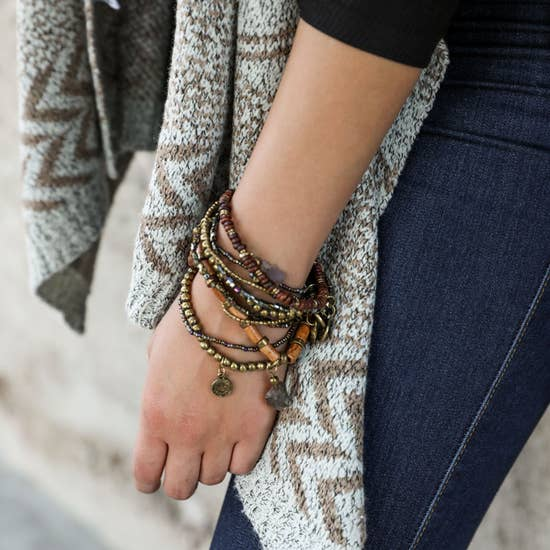 Boho Stone and Bead Stack Bracelet