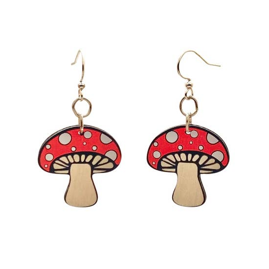 Mushroom Wooden Earrings