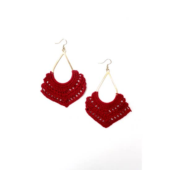 Crochet Dangling Earrings Red