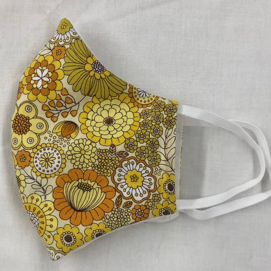 Yellow Retro Flower Face Mask With Filters