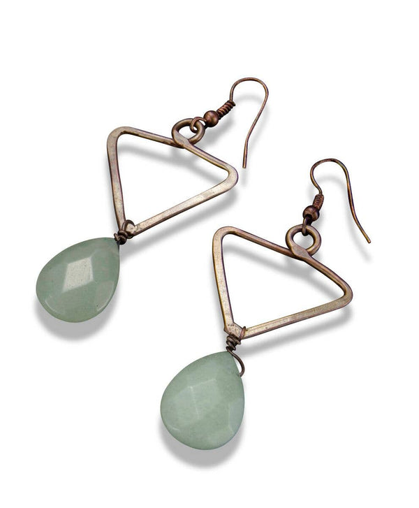 Copper Triangle with Aventurine Earrings