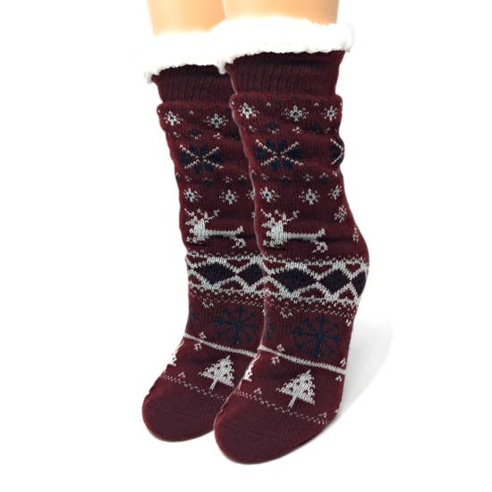 Womens Sherpa Sock - Reindeer Love