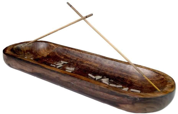 Wood Boat Double Incense Burner