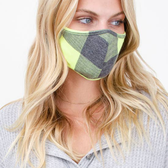 FACE MASK CHECK PRINT LIME PLAID