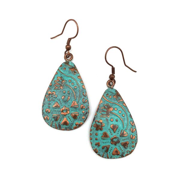 Copper Patina Earrings - Turquoise Floral and Vine